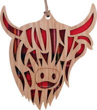 Load image into Gallery viewer, wooden and tartan hanging plaque, highland cow