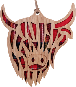 wooden and tartan hanging plaque, highland cow