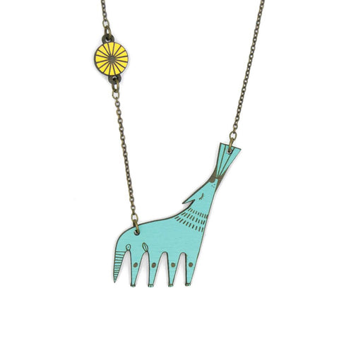 necklace depicting blue wolf howling
