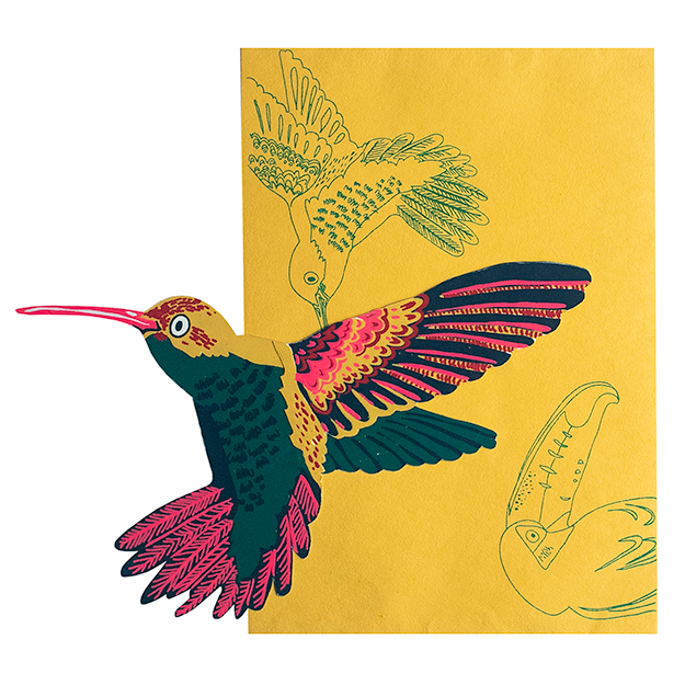 screen printed hummingbird card with beautiful envelope
