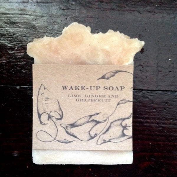 foam topped shape soap with cardboard outer and ink drawn sea life.