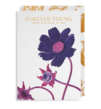 Load image into Gallery viewer, purple flower forever young happy birthday card