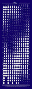 "detailed phases of the moon in reflective metallic ink against a midnight blue background. When rolled out, it measures 12"" by 32"" (30cm by 80cm)."
