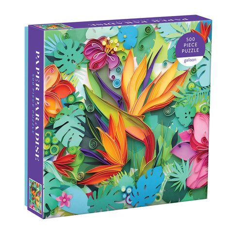 500 piece jigsaw puzzle depicting tropical flowers and plants