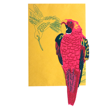 Load image into Gallery viewer, screen printed parrot card with beautiful envelope
