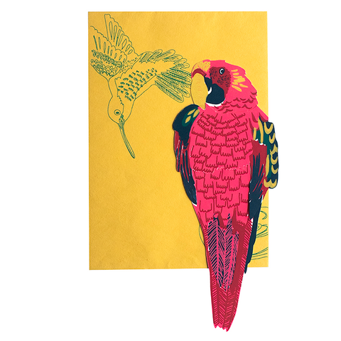 screen printed parrot card with beautiful envelope