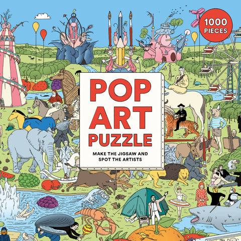 1000-PIECE PUZZLE featuring a madcap pop art scene in fantastic detail.