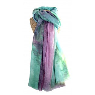 A scarf of a rainbow mix of bold colours.  Composition: 65% Polyester 35% Viscose  Approx: 180cm x 86cm