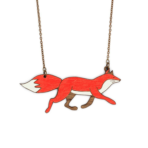 running fox image necklace