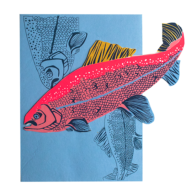 screen printed salmon card with beautiful envelope