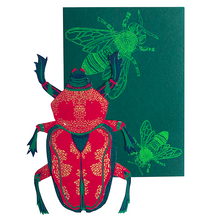 Load image into Gallery viewer, screen printed scarab beetle card with beautiful envelope