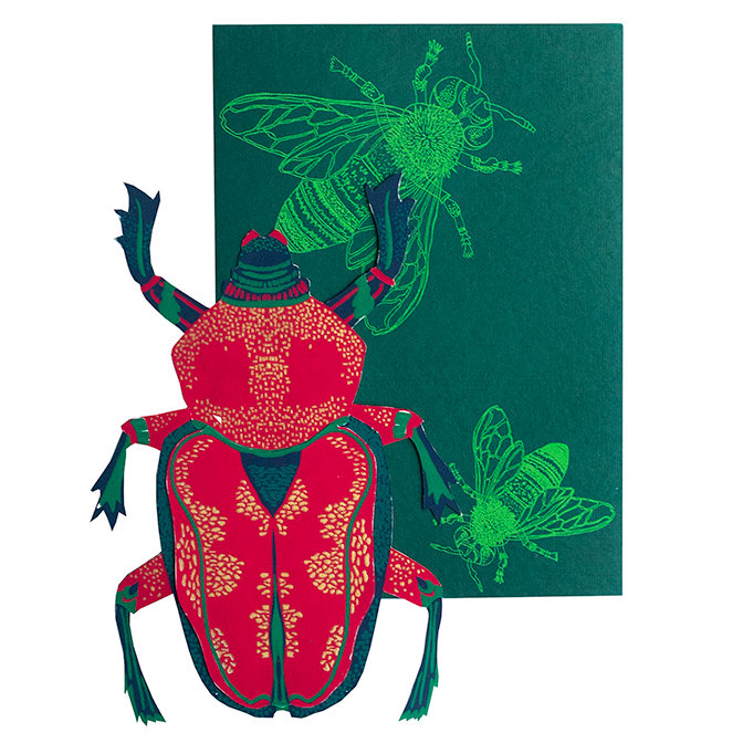 screen printed scarab beetle card with beautiful envelope