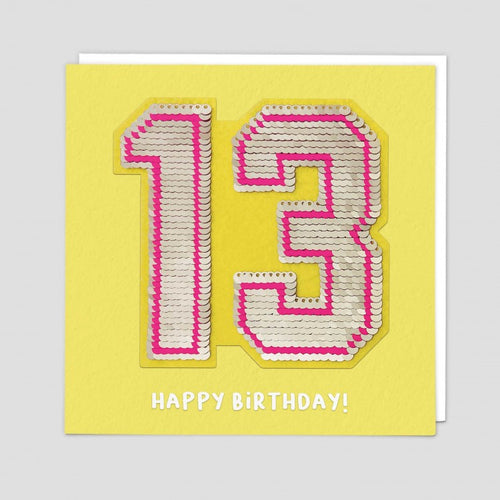 age 13 happy birthday sequin card