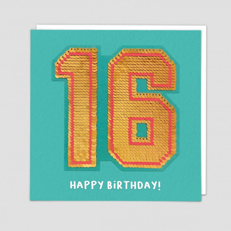 age 16 happy birthday sequin card