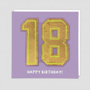 age 18 happy birthday sequin card
