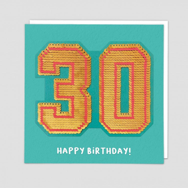 age 30 happy birthday sequin card