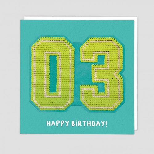age 3 happy birthday sequin card