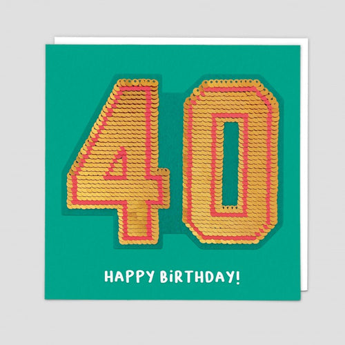 age 40 happy birthday sequin card