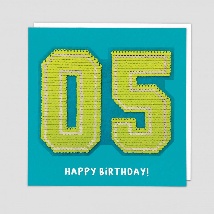 age 5  happy birthday sequin card