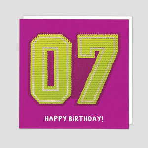 age 7 happy birthday sequin card