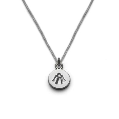 Silver Necklace with angel on a disk 1.1cm diameter