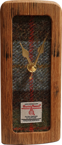 wooden clock made from whisky barrels, harris tweed inset