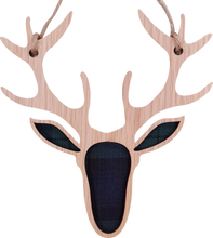 Load image into Gallery viewer, wooden and tartan hanging plaque, stag