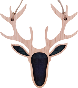 wooden and tartan hanging plaque, stag