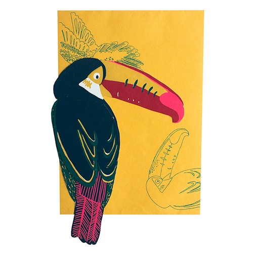 screen printed toucan card with beautiful envelope