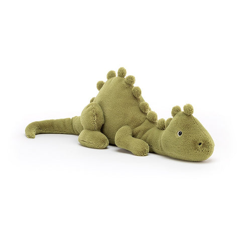 Quirky green dinosaur plush toy.