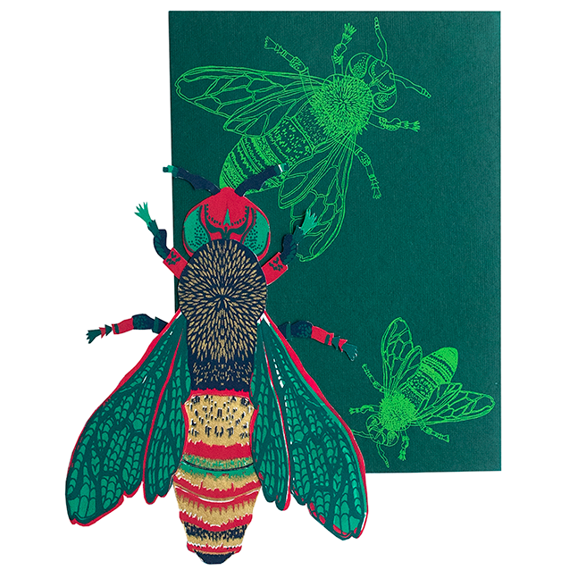 screen printed wasp card with beautiful envelope