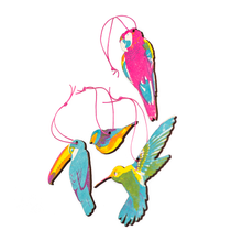 Load image into Gallery viewer, Four tropical birds wooden, brightly coloured