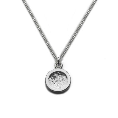 Silver Necklace with Pendant disc moon surface