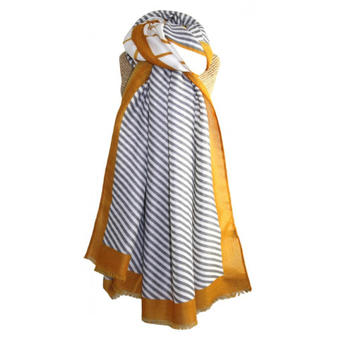 Simple, classic striped scarf with bold coloured edges.  Composition: 100% Polyester  Approx: 186cm x 91cm. Grey and mustard.