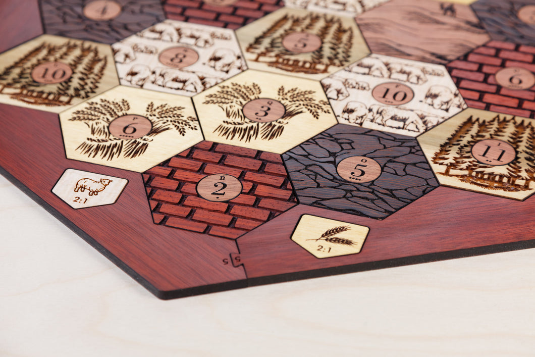 Board for Catan | Hardwood Edition | 3-4 or 3-6 Player