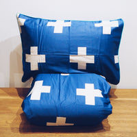 Blue Cross Duvet Cover Set - Queen