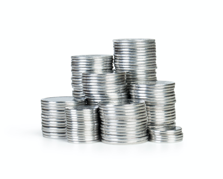 Stacks of Silver Coins