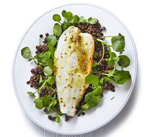 Honey & Orange Roast Sea Bass with Lentils
