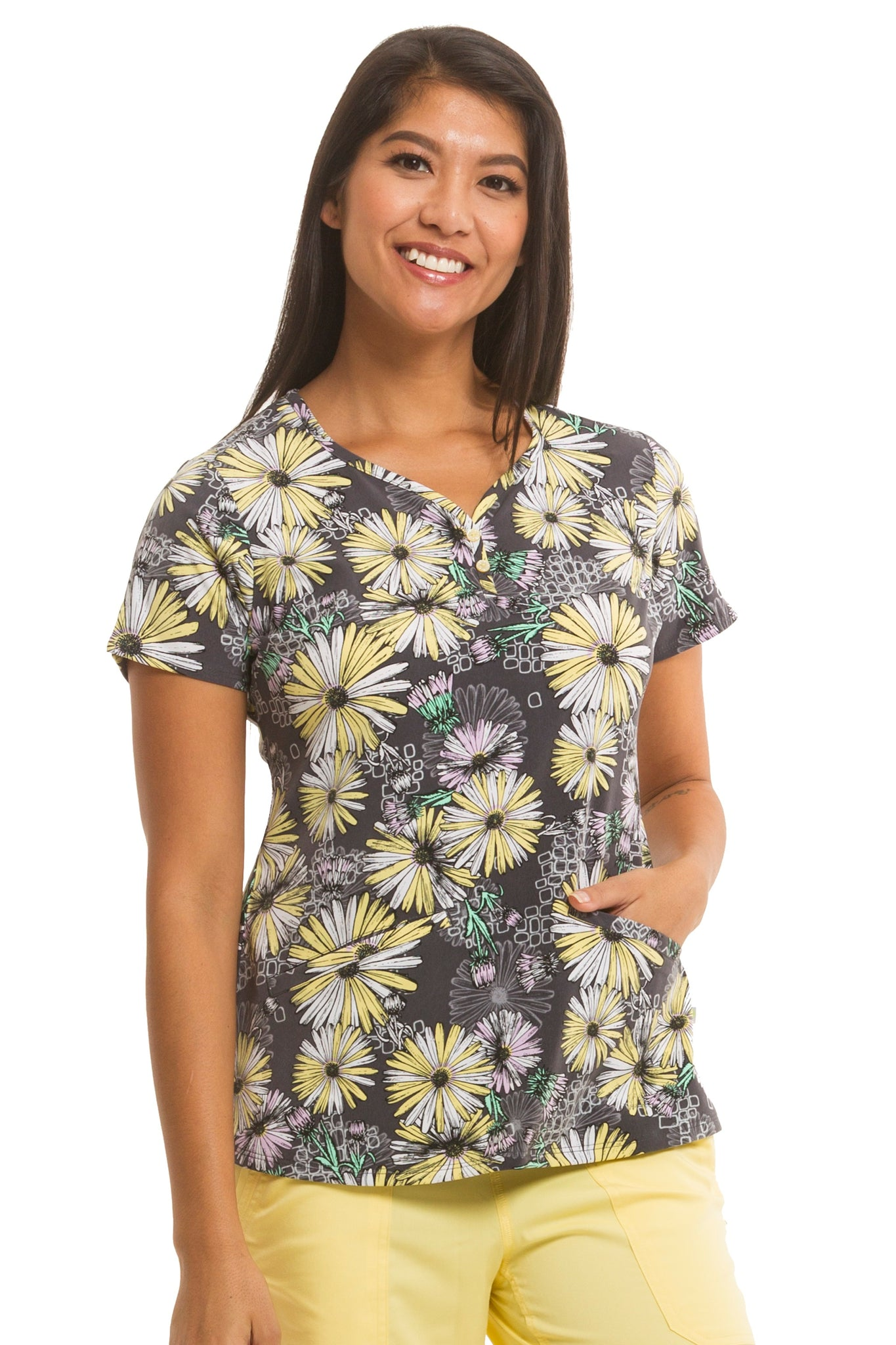 Healing Hands Scrubs Premiere Label Isabel Print Top Canary | Parker's Clothing and Shoes