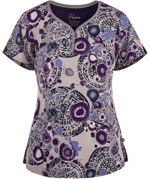 Healing Hands Scrubs Premiere Label Isabel Print Top Whimsical Splash | Parker's Clothing and Shoes
