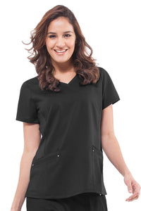 Healing Hands Plus Size Scrub Top Purple Label Juliet in Black at Parker's Clothing and Shoes