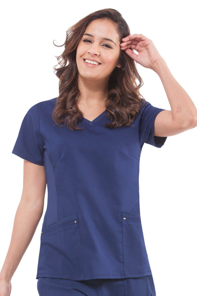 Healing Hands Plus Size Scrub Top Purple Label Juliet in Navy at Parker's Clothing and Shoes