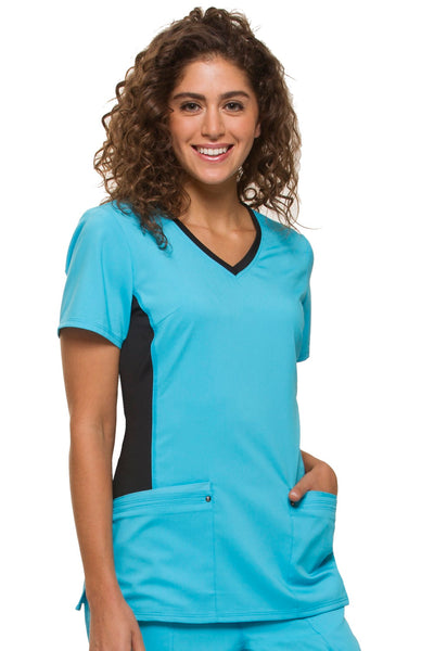 Healing Hands Plus Size Scrub Top Purple Label Juliet in Turquoise with Black panel at Parker's Clothing and Shoes