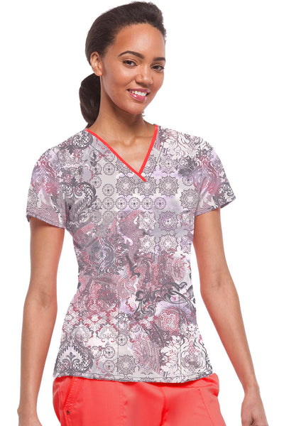 Healing Hands Scrubs Purple Label Amanda Print Top Red Spice - Parker's Clothing & Gifts