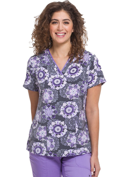 Healing Hands Scrubs Purple Label Amanda Print Top Purple Haze - Parker's Clothing & Gifts
