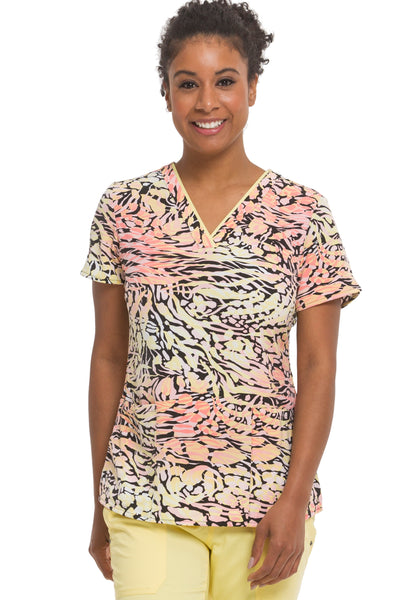Healing Hands Scrubs Purple Label Amanda Print Top Canary - Parker's Clothing & Gifts