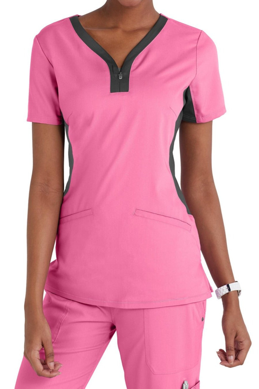 Healing Hands Purple Label Jessi Plus Size Scrub Top in Pink at Parker's Clothing and Shoes.