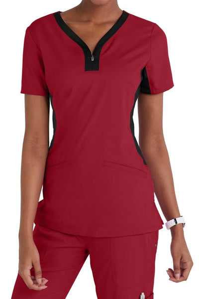Healing Hands Purple Label Jessi Plus Size Scrub Top in Red and Black at Parker's Clothing and Shoes.
