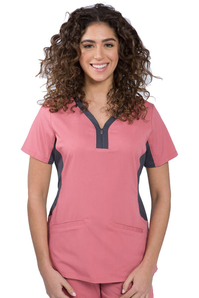 Healing Hands Purple Label Jessi Plus Size Scrub Top in Rosewood at Parker's Clothing and Shoes.