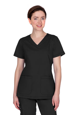 Healing Hands Plus Size Scrub Top Purple Label Jill in Black at Parker's Clothing and Shoes.